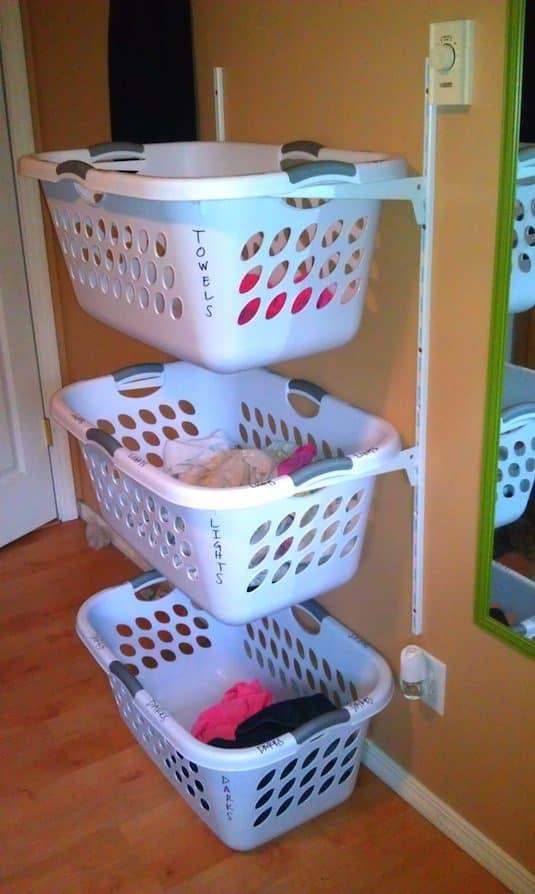 Hallway laundry shelving