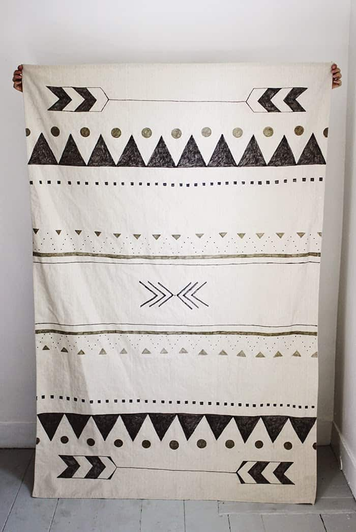 Hand printed rug turned tapestry
