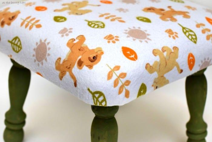 Lion king upholstered stool