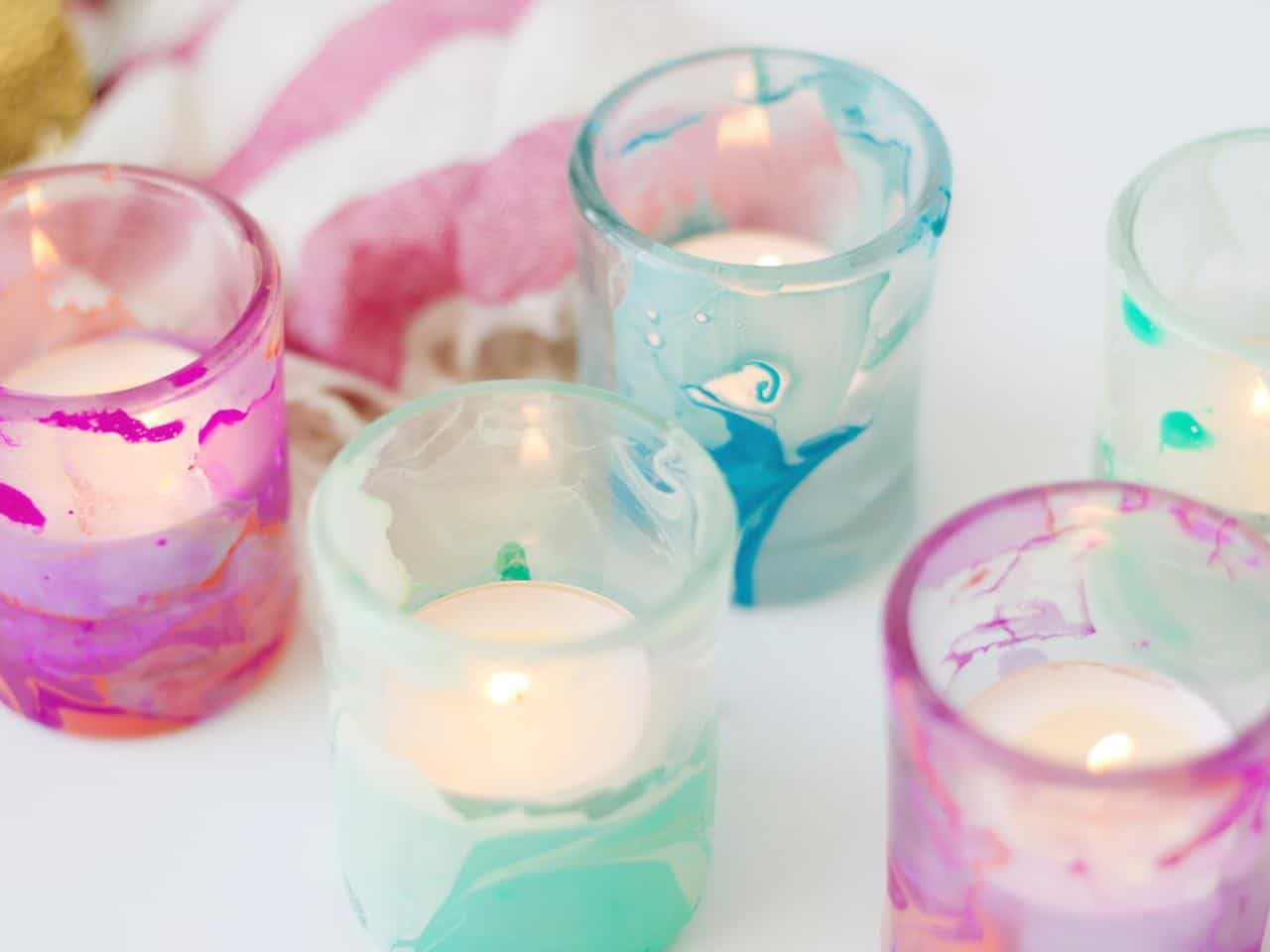 Marbled candle holders
