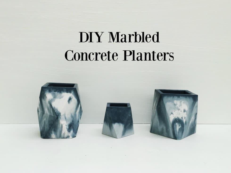 Marbled concrete planters