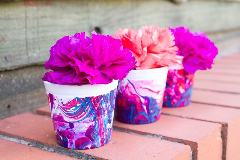 Marbled flower pots