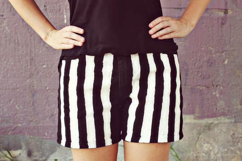 Striped black and white shorts