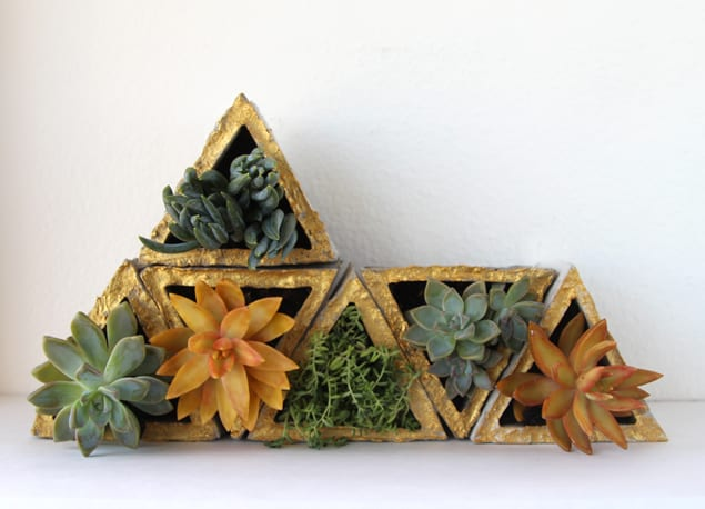 Triangle concrete planter