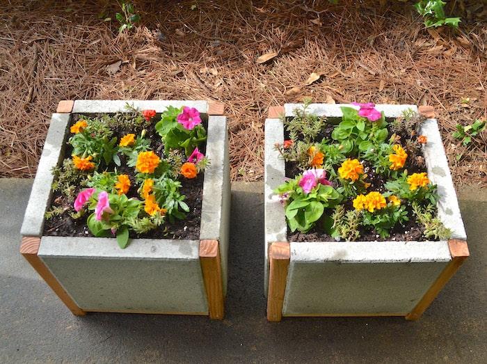 Wood & concrete planters