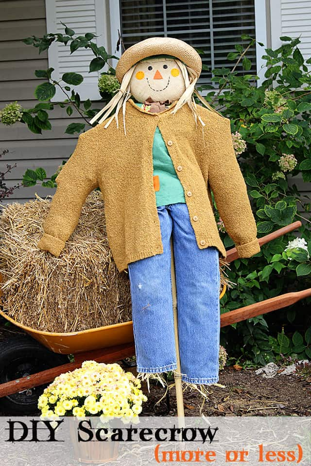 Big scarecrow from a pre-made little scarecrow