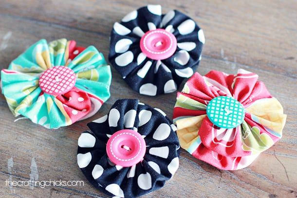 Button fabric flowers
