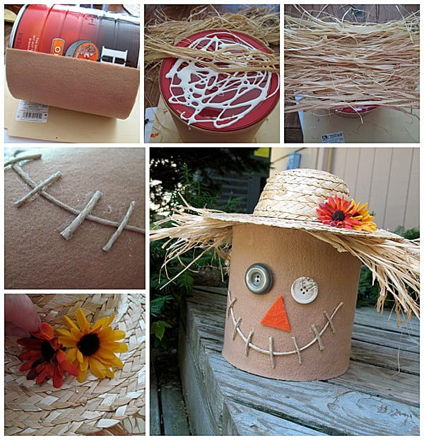 Coffee can scarecrow decor