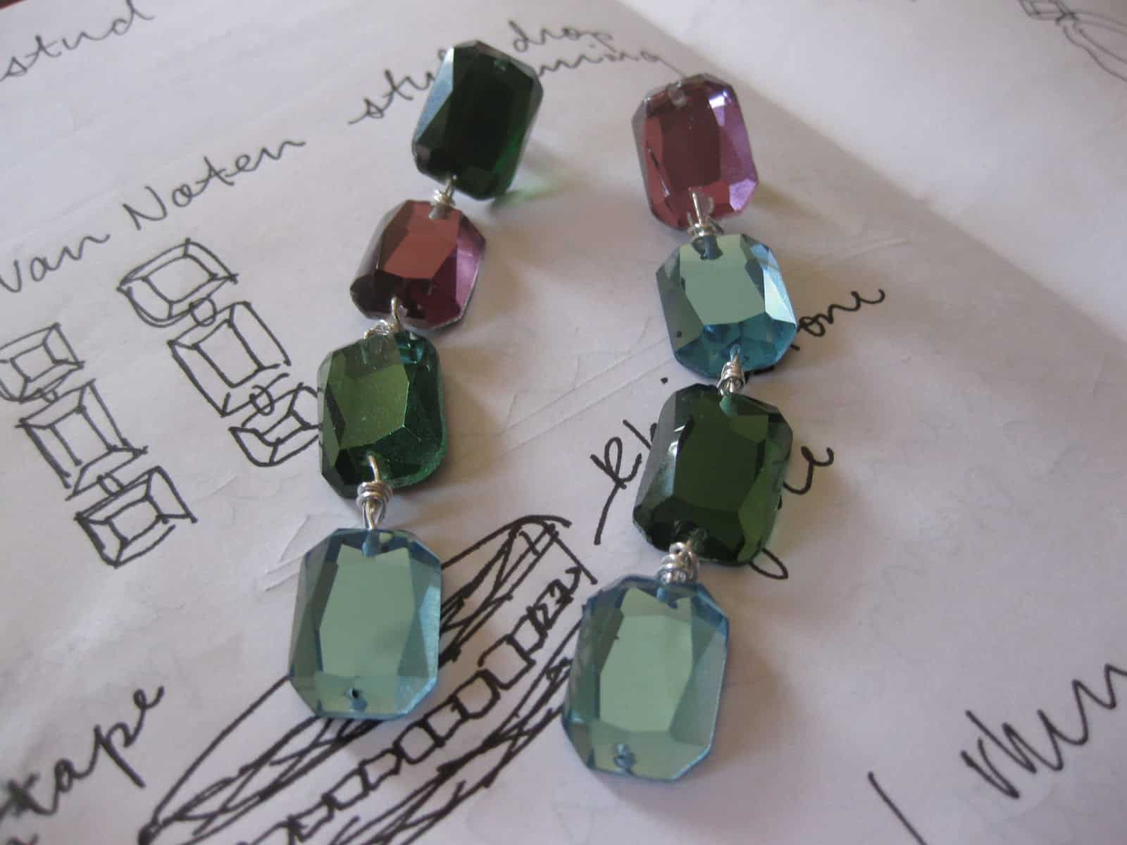 DIY dangly gem earrings