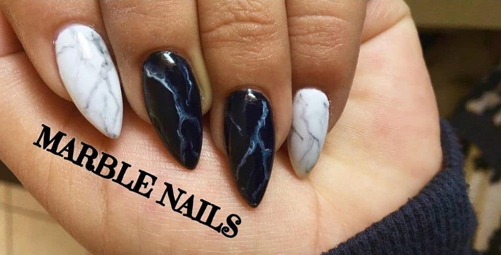 DIY marbled monochrome nails