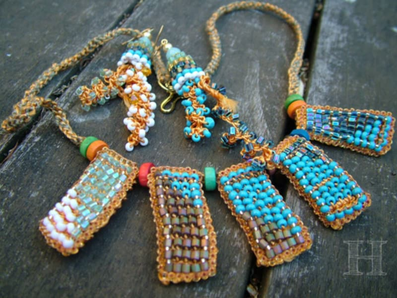 Deco style Czech bead necklace and spiral earrings