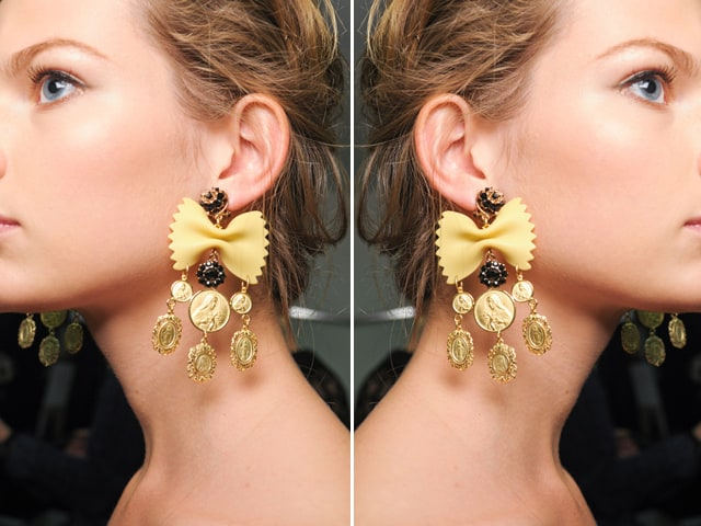 Dolce and Gabbana inspired pasta earrings