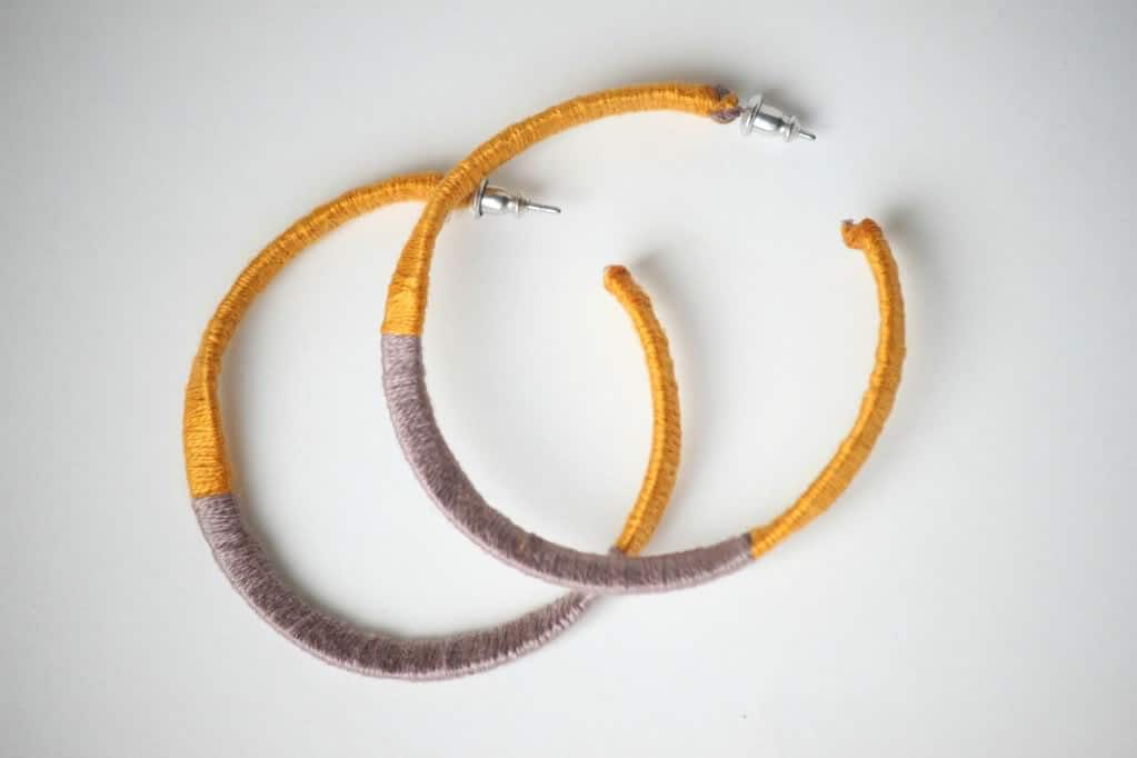 Emrboiery wrapped color block hoops