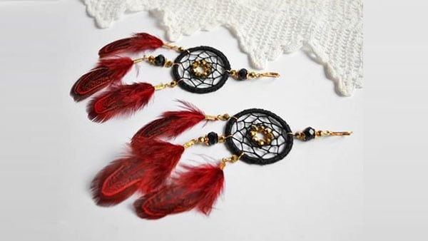 Feathered dream catcher earrings