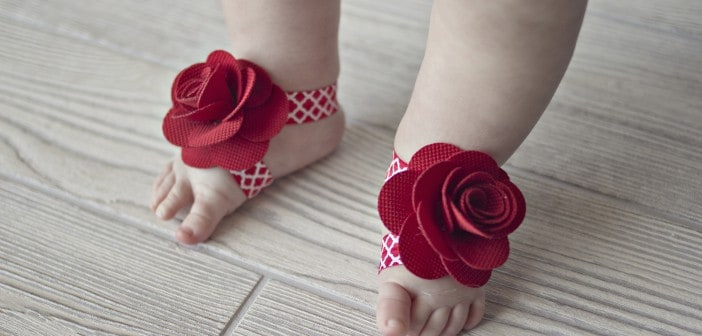 Floral barefoot baby sandals