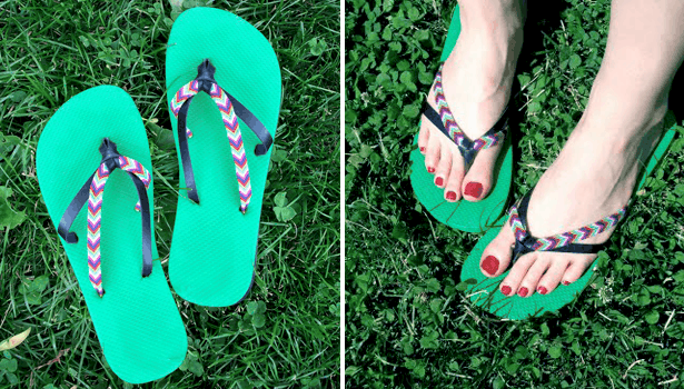 Friendship bracelet strap sandals