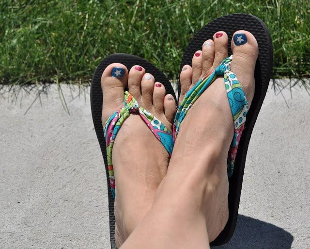 Funky fabric strap flip flops
