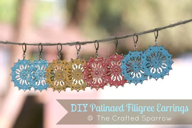 Hanging patinaed filigree earrings