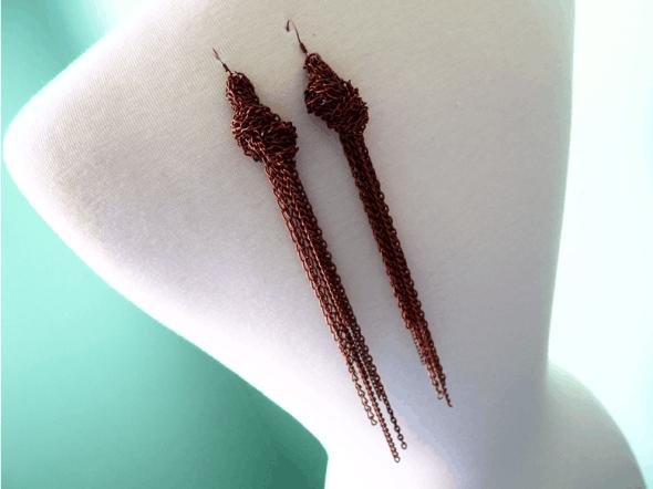 Knotted chain tassel earrings