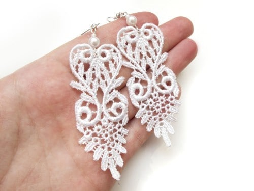 Lace applique and pearl earrings