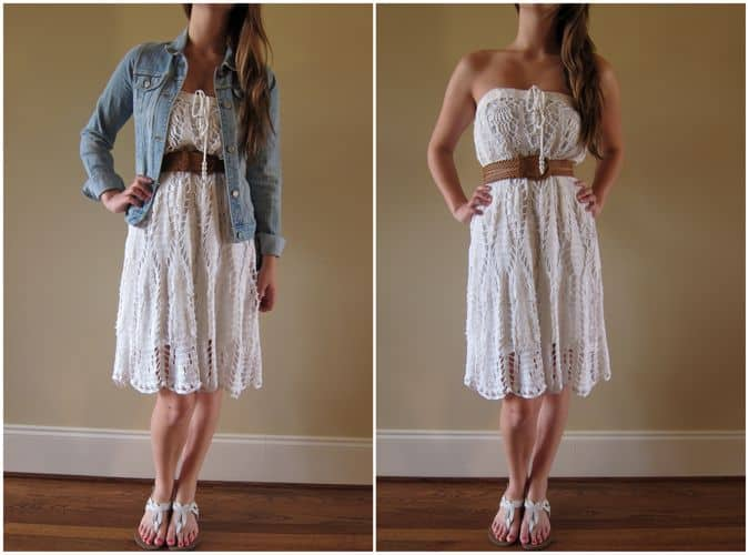 Lace skirt to strapless dress