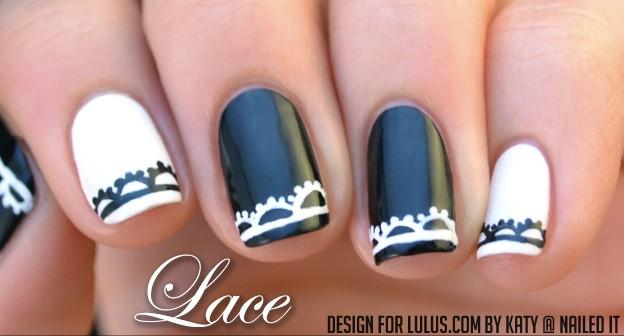 Lace trim monochrome nails
