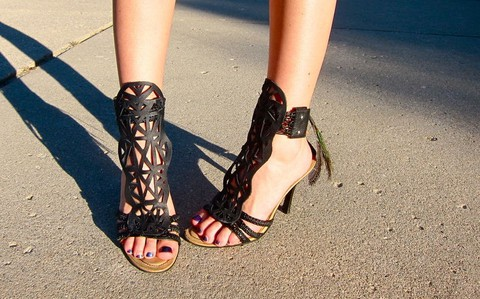 Leather cutout heeled sandals