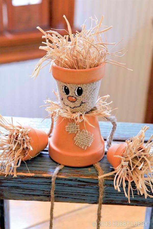 Mini clay pot scarecrow