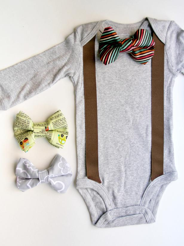Onesie with suspenders and a bowtie