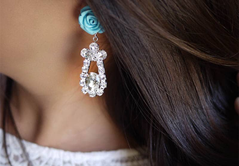 Prada inspired rose and rhinestone earrings