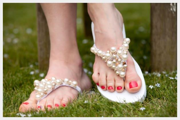 Ribbon and pearl flip flops