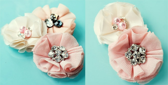 Rosy fabric flowers