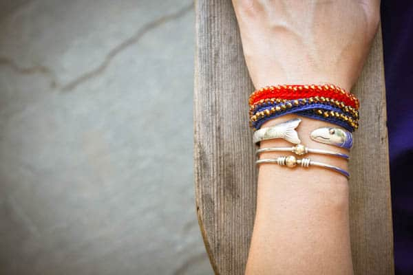 Simple crocheted embroidery thread bracelets