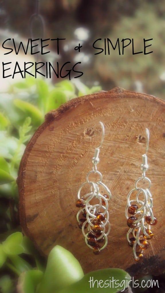 Simple hoop and bead earrings