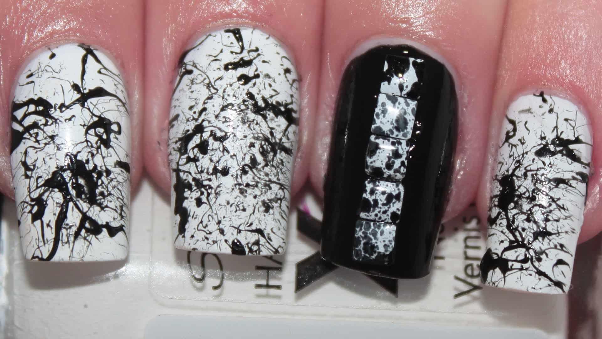 Splatter monochrome nails