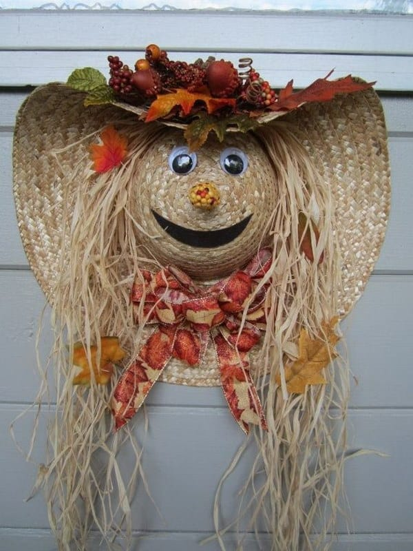 Sun hat scarecrow door wreath
