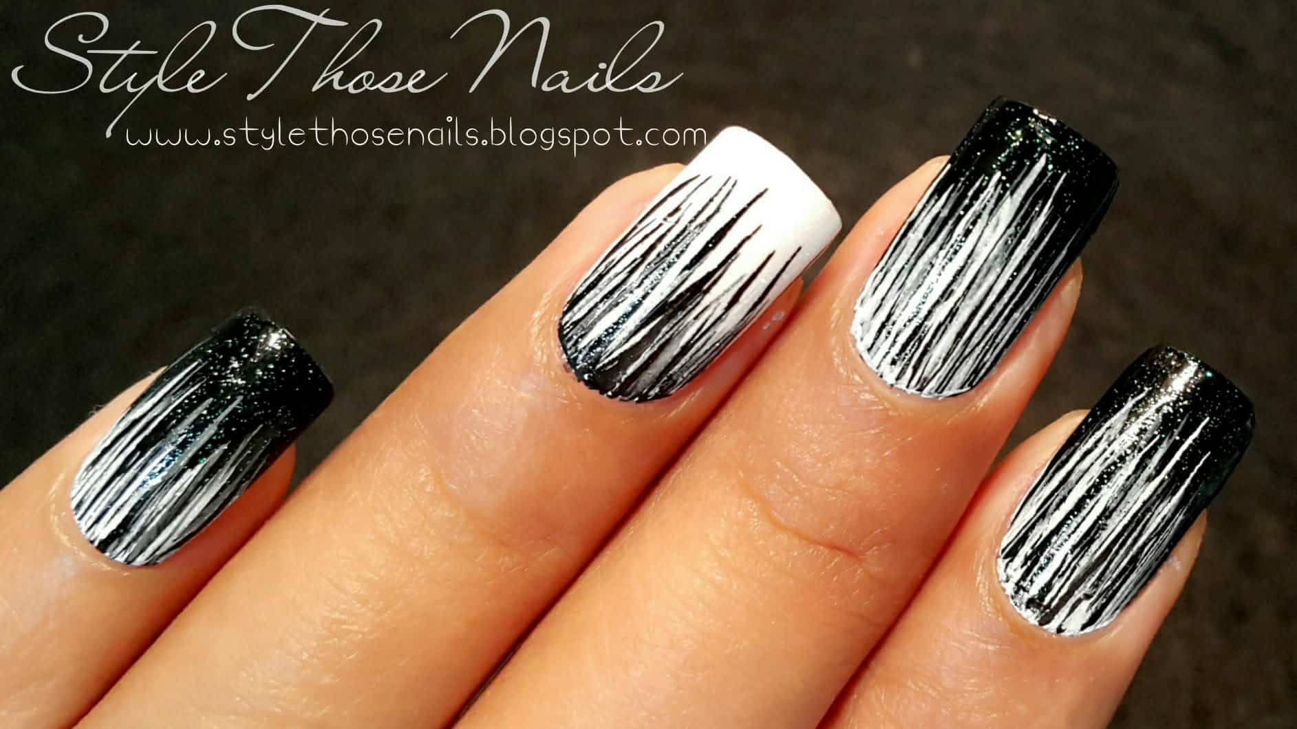 Waterfall monochrome nails