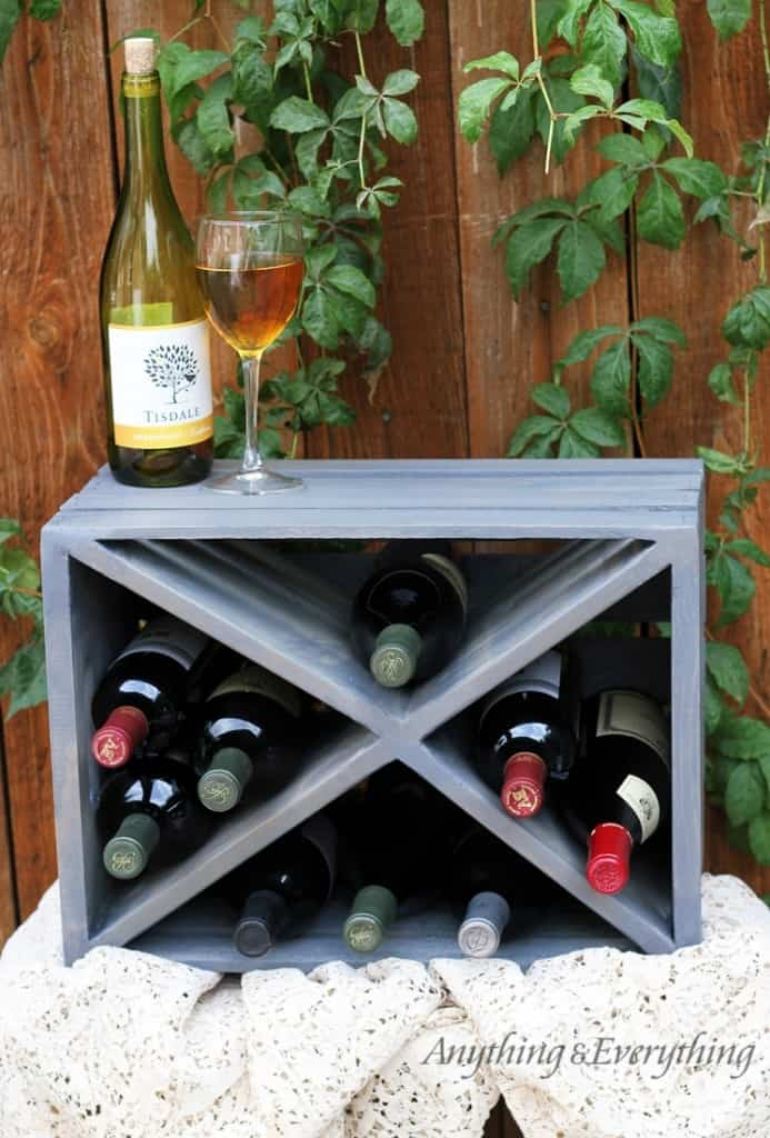 Wood crate wine rack