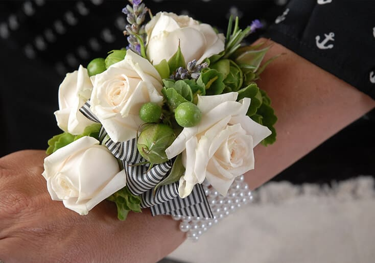 Wrist corsage with pearls