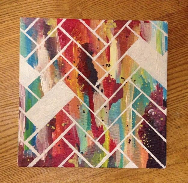 Painting Ideas With Tape: Finding Your Inner Artist: 15 Pretty Canvas Art Ideas