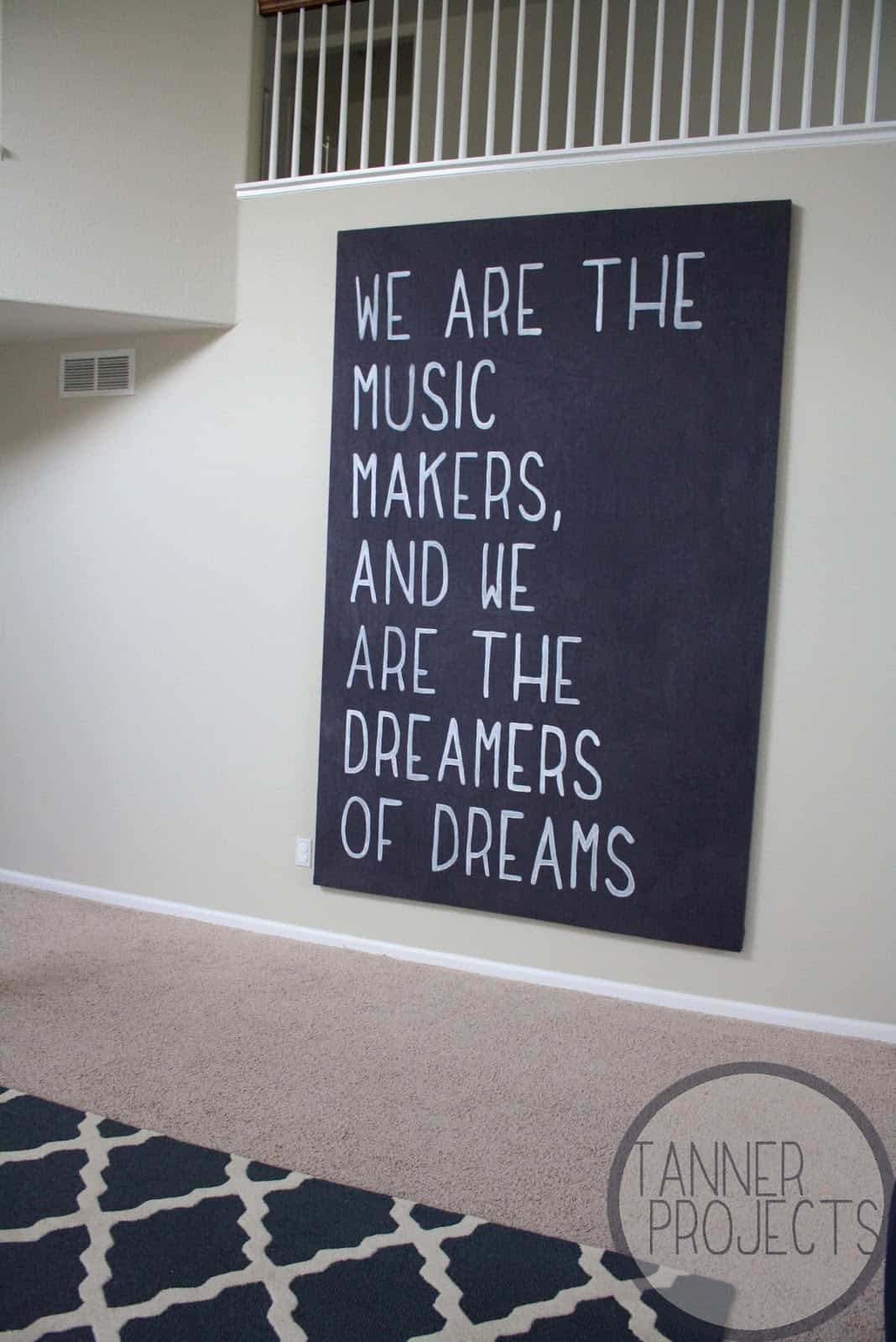 Big quote on dyed drop cloth canvas