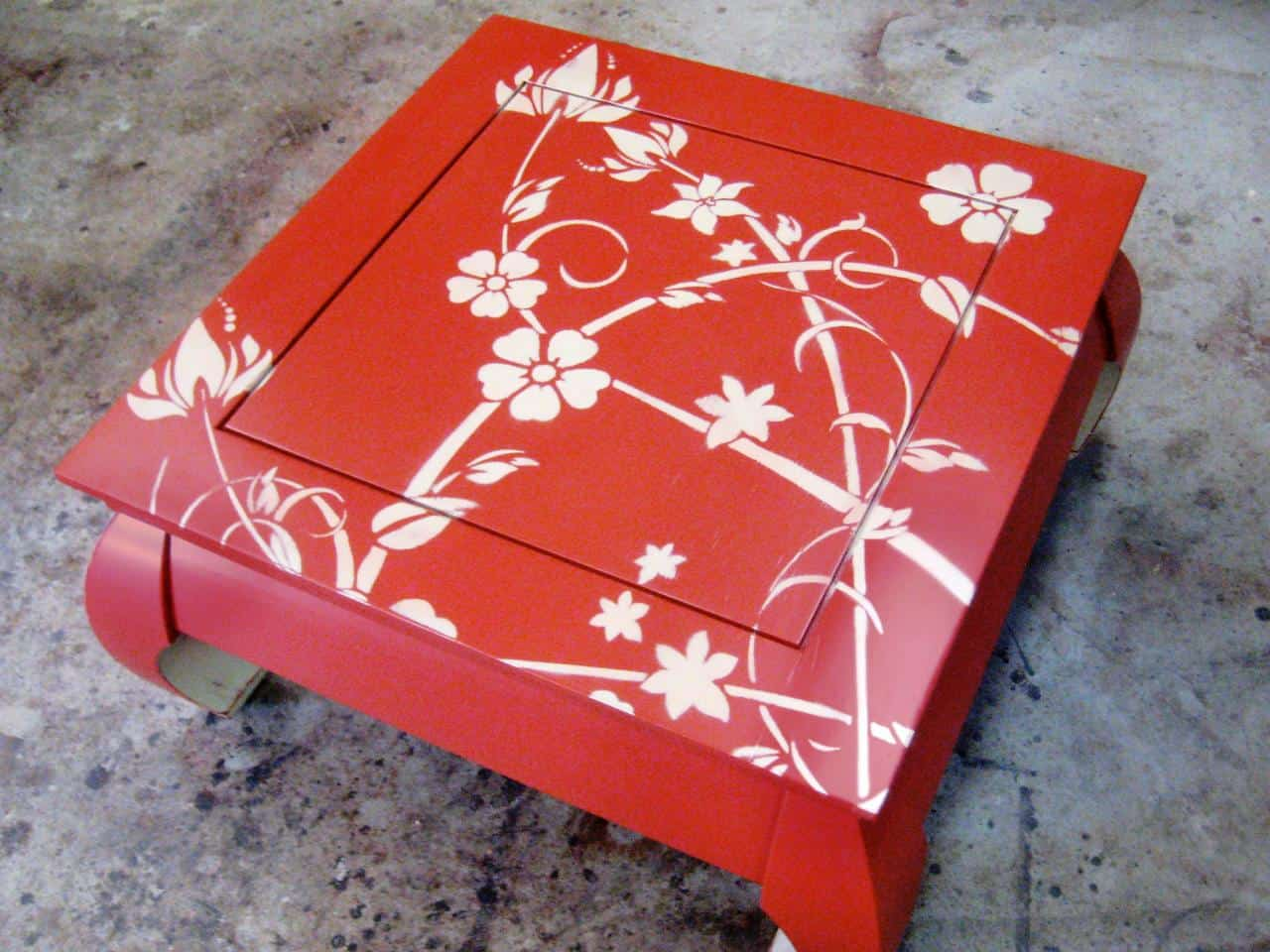 Bright stenciled wooden table