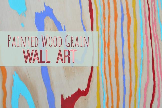 Brightly painted wood grain art