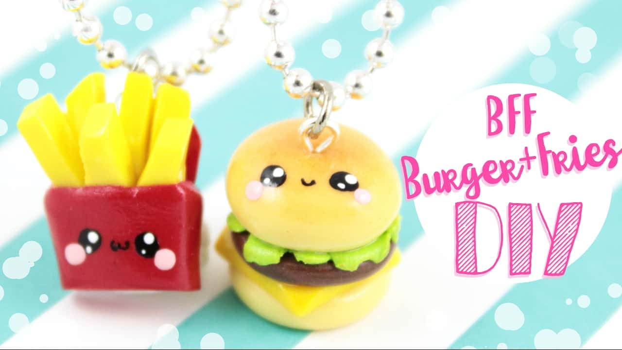 Burger and fries necklace