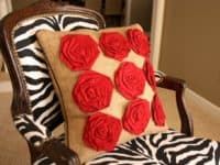 Burlap pillow with fabric flowers 200x150 15 Plush and Cute DIY Throw Pillows Ideas