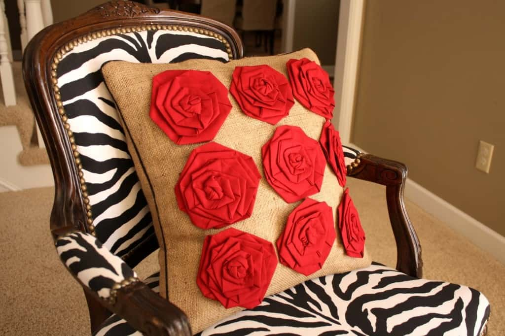 Burlap pillow with fabric flowers