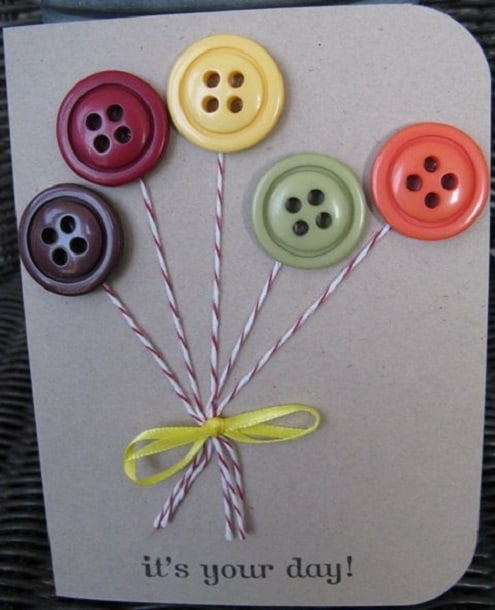 Pretty and personalized fabulous homemade birthday card ideas 4 button balloon birthday card bookmarktalkfo Gallery