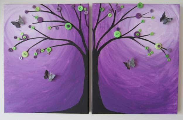 Button branches and butterflies in a purple sky