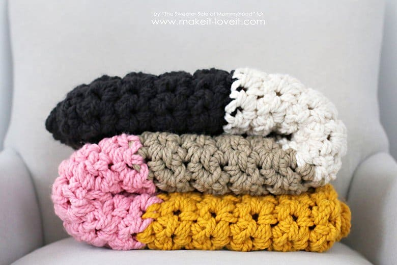 Colorful chunky blanket