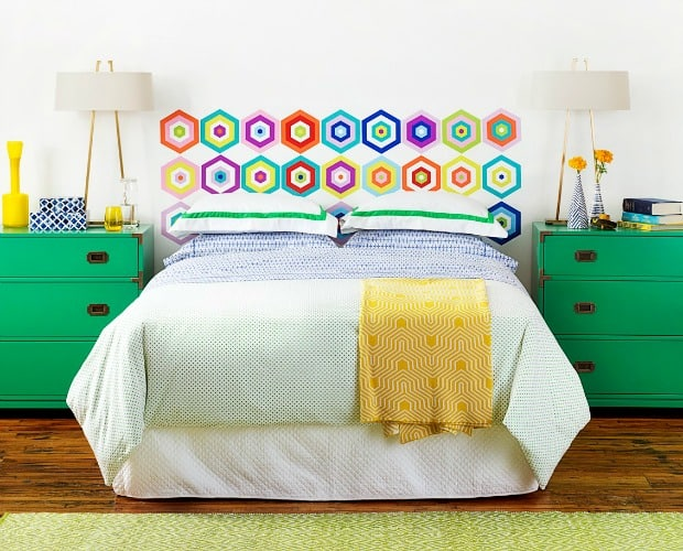 Colorful decal headboard